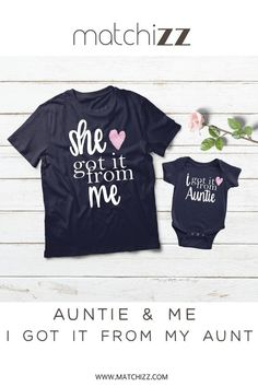 0695a834 Aunt Neice Shirts She Got it from Me Aunt Gifts Aunt Niece Matching Outfits  Baby Girl Clothes