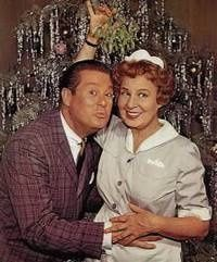 """B and Hazel meet under the mistletoe"""" (Don DeFore and Shirley Booth) posing for publicity shot. So funny. Christmas Tv Shows, Christmas Stuff, Christmas Photos, Christmas Trees, Christmas Episodes, Xmas Tree, Hazel Tv Show, Shirley Booth, Old Shows"""