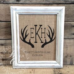 Hey, I found this really awesome Etsy listing at https://www.etsy.com/listing/209451188/rustic-antler-monogram-burlap-art-print