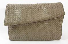 BOTTEGA VENETA Medium Brown Woven Leather Flap Large Clutch Portfolio Handbag at www.ShopLindasStuff.com