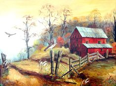 Red Barn, Hawk, Southern Folk Art, Barb Wire, Autumn, Fall, Barns, Hawks, Folk Art, Wall Art, Red Barn Print, Country Painting, Arie Taylor by jagartist on Etsy