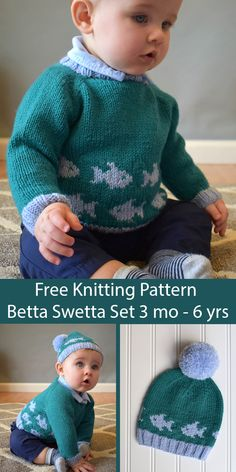 Free Knitting Pattern for Baby and Child Betta Swetta Sweate.-Free Knitting Pattern for Baby and Child Betta Swetta Sweater and Hat Set - How To Start Knitting, Knitting For Kids, Easy Knitting, Animal Sweater, Baby Patterns, Baby Boy Knitting Patterns Free, Baby Sweater Patterns, Knit Baby Sweaters, Smocking