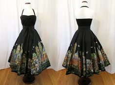 To Die For 1950's Hand Painted Halter Mexican Dress by wearitagain