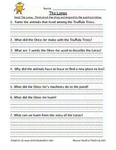 Printables The Lorax Worksheet the lorax worksheet plustheapp questions answers on movie worksheet