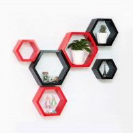 Beehive Shaped Wall Mount Shelves- Set of 6
