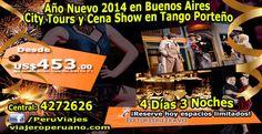 Ampliamos nuestra oferta de Año Nuevo con este paquete internacional de 4 días 3 noches para viajar a Buenos Aires, válido para reservas entre 22 de diciembre y 5 de enero 2014 (mínimo 2 pasajeros). El paquete incluye City Tours según programa y una noche de gala con Cena Show en el Tango Porteño.