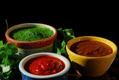 Red chutney, Green chutney and Tamarind chutney.