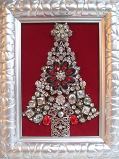 Jeweled Framed Jewelry Christmas Tree Silver by audreymivey