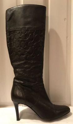 8f4bf0cf1da Coach Elitta Chestnut Brown Supple Leather Knee High Womens Boots Sz 10B   Coach  KneeHigh