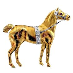 Beautiful Art Deco Horse Pin | From a unique collection of vintage brooches at https://www.1stdibs.com/jewelry/brooches/brooches/