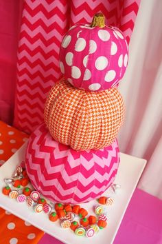 Get out the Mod Podge + fabric scraps to make decoupaged pumpkins.