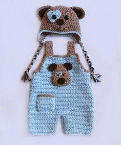 Items similar to puppy love hat set - baby overalls - newborn dungarees - puppy hat - newborn photo prop - dog hat set - crochet baby hat set on etsy Adorable Puppy Love hat and overalls! Crocheted by me from acrylic yarn. Crochet Baby Hats Free Pattern, Bonnet Crochet, Crochet Baby Clothes, Crochet For Boys, Newborn Crochet, Crochet Beanie, Baby Knitting Patterns, Baby Patterns, Free Crochet