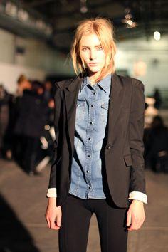 black blazer over denim shirt.
