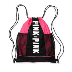 VS PINK drawstring bag Brand new! Never been used. Would still have the tags but it was wrapped as a present. Hot pink in color so perfect for the upcoming summer ☀️ open to OBO PINK Victoria's Secret Bags