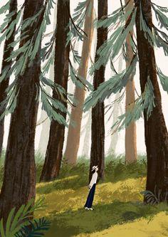 卤猫 (Illustration For Chanel. Forest Illustration, Digital Illustration, Scenery Wallpaper, Art Sketchbook, Aesthetic Art, Cute Art, Art Inspo, Aesthetic Wallpapers, Art Drawings