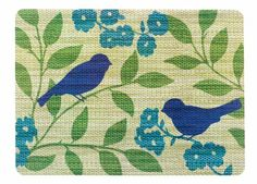 Ritz Blue Bird Print Reversible Placemats, Set of 4 Bird Prints, Floral Prints, Bird Party, Placemat Sets, Blue Placemats, Dining Table In Kitchen, Dining Set, Santa Letter, Brown Floral