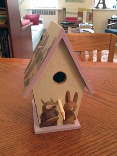 birdhouse made (by me) from The Quiet Book, written by Deborah Underwood and illustrated by Renata Liwska