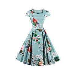 ZAFUL Women Plus Size S~4XL Cotton Stretchy Vintage Floral Dress 60s AudreyRetro Rockabilly Swing Elegant Feminino Vestidos