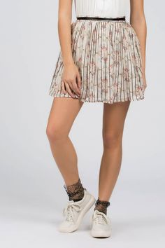 608aed83803 POL Floral Pleated Chiffon Skirt - Pearl Beige