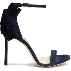 Jimmy Choo Kerry 100mm suede sandals (€420) ❤ liked on Polyvore featuring shoes, sandals, navy, navy blue stilettos, navy blue sandals, navy evening sandals, stiletto sandals and evening sandals
