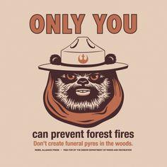 Star Wars Ewok Smokey the Bear T-Shirt – Endor Forest Fires PSA Shirt