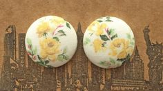 Fabric Button Earrings / Pastel Yellow Roses / by ManhattanHippy