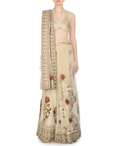 Beige Lengha with Pearls and Applique
