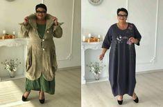 NAGYMÉRETŰ RUHÁK ... EGYSZERŰ ÉS STÍLUSOS! SZABÁSMINTÁK + INSPIRÁLÓ ÖTLETEK Short Sleeve Dresses, Dresses With Sleeves, Comfortable Fashion, Duster Coat, Kimono Top, Blog, Jackets, Tops, Women