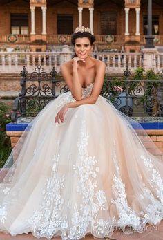 Crystal Design 2017 bridal strapless sweetheart neckline heavily embellished bodice princess ball gown wedding dress corset strap back chapel train (andie) mv