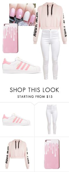 Pink and White by biiahmello031 on Polyvore featuring moda and adidas Originals