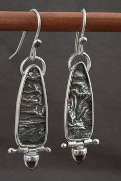 reticulated silver jewelry | Reticulated Silver Earrings with Hinged Smokey Topaz by BWBJewelry, $ ...