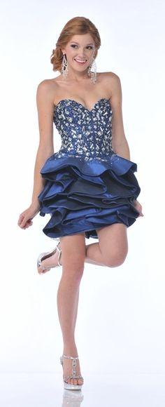 Navy Blue Short Pageant Dress Rhinestone Studded Strapless Layered Cheap Short Prom Dresses, Affordable Prom Dresses, Best Prom Dresses, Prom Dresses For Sale, Pageant Dresses, Blue Dresses, Prom Dress 2013, Prom Dress Stores, Prom Dress Shopping