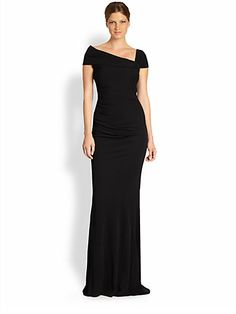 Badgley Mischka - Asymmetrical Off-The-Shoulder Gown - Saks.com