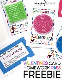 You A-Maze Me! Valentine Card FREEBIE are so much fun and will bring a smile to your kiddos faces! The Homework Free Day Pass is an added plus! Teacher Valentine, Valentines For Boys, Valentine Crafts, Valentine Day Cards, Valentine Ideas, School Parties, School Fun, School Ideas, School Stuff