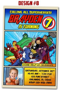 Avengers Superheroes Movie Birthday Party Photo Invitations