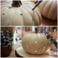 MichaelsMakers: Harvest Inspired Tablescape Using Craft Pumpkins Pumpkin Crafts, Fall Crafts, Holiday Crafts, Holiday Fun, Pumpkin Ideas, Thanksgiving Celebration, Thanksgiving Decorations, Autumn Decorations, Holidays Halloween