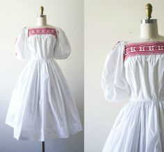 vintage bohemian sundress . white cotton 50s by VelvetPinVintage