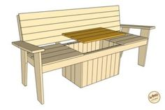 A bench. A cooler. The most amazing Cooler Bench you've ever seen. Check out these free DIY-friendly plans. Deck Bench Seating, Patio Bench, Wood Patio, Diy Patio, Patio Chairs, Outdoor Cooler, Diy Outdoor Bar, Diy Outdoor Furniture, Furniture Projects