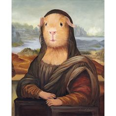 Mona Lisa Guinea Pig Print, Guinea Pig Art, Animals in Clothes Guinea Pig Costumes, Guinea Pig Clothes, Pet Clothes, Baby Animals, Funny Animals, Cute Animals, Mona Lisa, Wallpaper Gatos, Guinea Pig Breeding