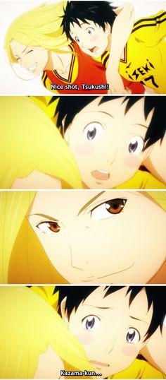 Nice shot Tsukushi! - Days (TV) - Kazama Jin and Tsukamoto Tsukushi - #days soccer anime