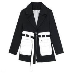 Women Black Pocket Split Temperament Blazer New Lapel Long Sleeve Loose Fit Jacket Fashion Work Wear Blazers For Women, Coats For Women, Women Blazer, Fall Blazer, Blazer Jacket, Jacket Style, Work Wear, Spring Fashion, Jackets