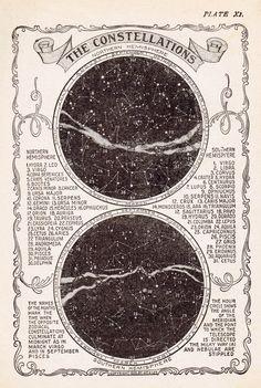 Vintage Star Chart, Constellation Map, Vintage Art Print, Star Map Vintage Print, Constellation Prin The Vintage Prints, Map Vintage, Vintage Star, Vintage Images, Vintage London, French Vintage, Vintage Ideas, Vintage Music, Vintage Wall Art