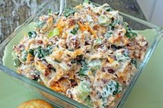 Million Dollar Dip 5 green onions chopped, 8 oz shredded cheese, 1 1/2 cup mayo, 1 jar bacon bits, 1 pkg slivered almonds. Mix & chill for 2 hrs