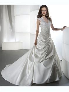 A Line V-Neck Beading Lace Satin 2014 Wedding Dresses AWD100131