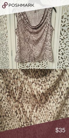 Calvin Klein Blouse This is a sleeveless scoop neck dark/light grey and white snake type print shirt. Nice blouse for business casual. Calvin Klein Tops Blouses