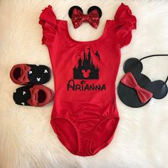 """Instagram @dailythreads_ This pic is featuring our """"Custom Name My Happy Place"""" Red Flutter sleeve Leotard with Black glitter design!✨ Message me on Etsy to request this design!❤ **Follow/Like my Facebook page @ DailyThreadsByDina and message me for 10% OFF your 1st order!! TheDailyThreads.etsy.com #customname #myhappyplace #princess #squad #leotard #disney #disneyland"""