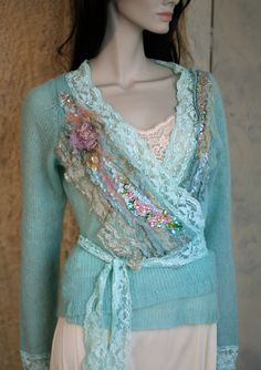 Aqua rose romantic textile art jacket hand by FleurBonheur on Etsy