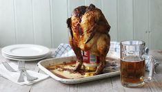 Super-moist and tasty BBQ 'beer can' chicken