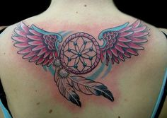 Black Butterfly And Dreamcatcher Tattoo On Upper Back