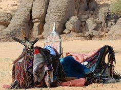 Traditional tuareg camel saddle & bags